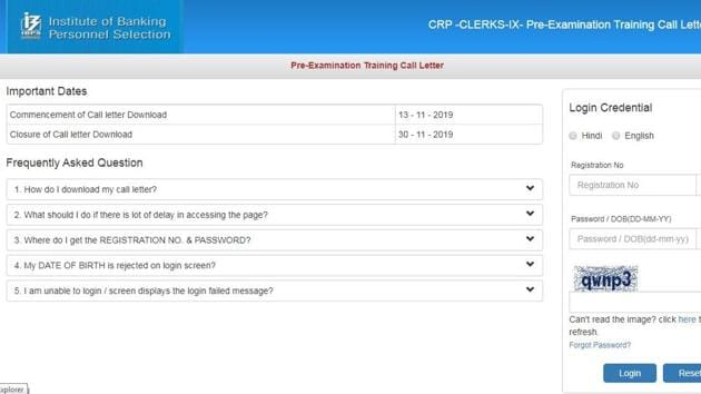 IBPS on Wednesday released the pre-exam training call letters for exam to recruit clerks (CRP CLERKS-IX) in participating organizations.