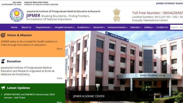 Jawaharlal Institute of Postgraduate Medical Education and Research (JIPMER) has released the admit card for its entrance test for admission to its MD/MS and DM/MCh programme for 2020 academic session.(jipmer.edu.in)