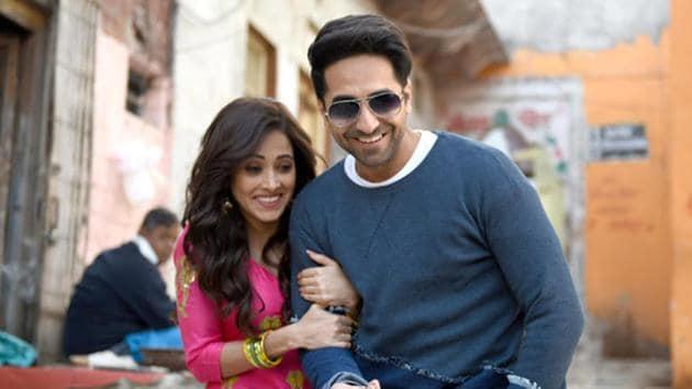 Ayushmann Khurrana and Nushrat Bharucha in Dream Girl.