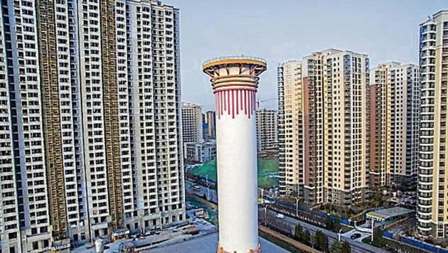 Aerial view of an air purifier tower designed to combat smog and other air pollution on October 17, 2018 in Xi'an, Shaanxi Province of China.(Photo by Visual China Group via Getty Images/Visual China Group via Getty Images)