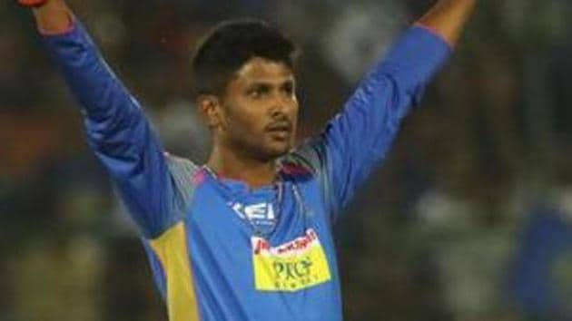 Gowtham Krishnappa of the Rajasthan Royals celebrates the wicket of Chris Lynn.(IPL)