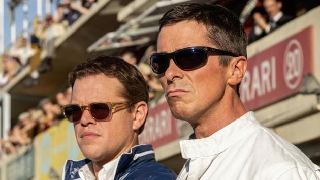 Ford v Ferrari movie review: This image released by 20th Century fox shows Christian Bale, right, and Matt Damon in a scene from James Mangold's new film. (Merrick Morton/20th Century Fox via AP)(AP)