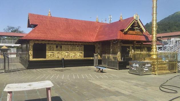 Lord Ayyappa Temple, in Sabarimala, Kerala, Thursday, Nov. 14, 2019. The temple is set to open on November 16, 2019.(PTI)