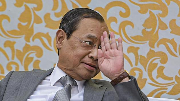 Outgoing Chief Justice of India Justice Ranjan Gogoi during his farewell function at the Supreme Court in New Delhi, Friday.(PTI)