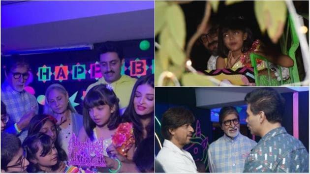 Amitabh Bachchan, Aishwarya Rai, Abhishek Bachchan and others at Aaradhya's birthday.