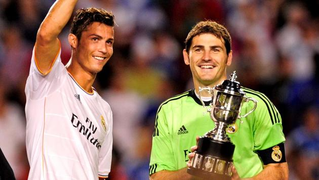 Cristiano-Ronaldo (while playing Real Madrid) celebrates with Iker-Casillas.(AP)