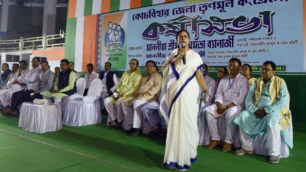 West Bengal Chief Minister and Trinamool Congress supremo Mamata Banerjee addresses party's workers in Cooch Behar district of West Bengal on Monday.(PTI photo)