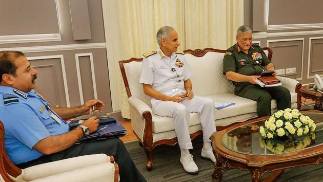 Chief of the Army Staff General Bipin Rawat, Chief of the Naval Staff Admiral Karambir Singh and Chief of the Air Staff Air Chief Marshal RKS Bhadauria.(PTI FILE)