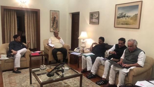 The meeting at Pawar's residence saw NCP leaders Supriya Sule, Chavan Bhujbal, Ajit Pawar, Sharad Pawar and Nawab Malik in attendance.(Photo: Hindustan Times)