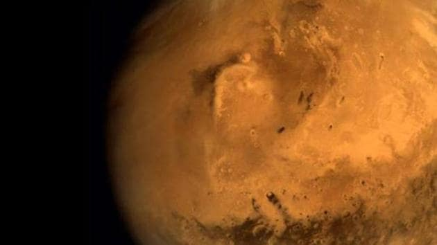Full disc image of Mars, taken by the Mars Orbiter, from an altitude of 66,543 km.(ISRO Photo)