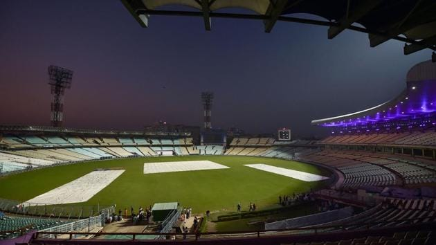 Eden Garden stadium ahead of the first pink ball day-night Test match between India and Bangladesh(PTI)