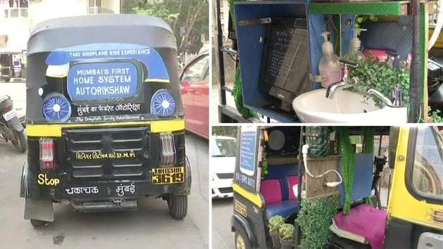 Image showing Mumbai's 'first home system' auto rickshaw which impressed Twinkle Khanna too.(Twitter/ANI)