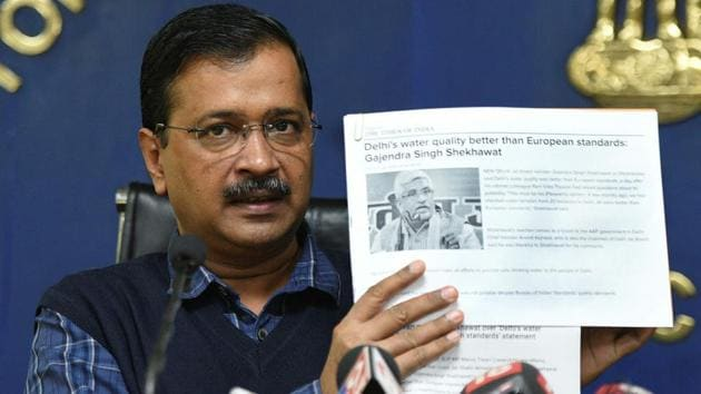 Delhi CM Arvind Kejriwal rejected the BIS finding on Delhi's water quality and in a press briefing, shared the addresses of the places from which BIS collected samples.(HT Photo)