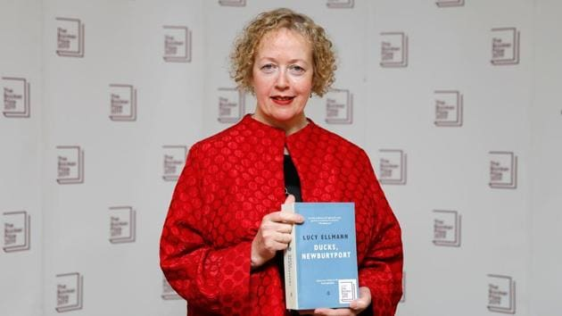 US-born British novelist Lucy Ellmann poses with her book Ducks, Newburyport during the photo call for the authors shortlisted for the 2019 Booker Prize for Fiction at Southbank Centre in London on October 13, 2019(PHOTO: AFP)