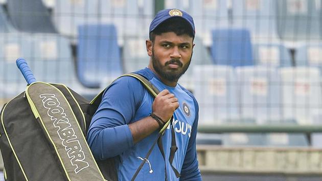 Indian cricketer Sanju Samson during a practice session.(PTI)