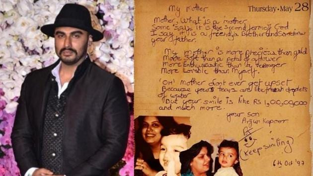 Arjun Kapoor has shared a poem he wrote for his mother Mona when he was 12 years-old.