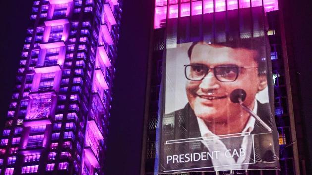 Kolkata: An illuminated building displays an image of BCCI President Sourav Ganguly.(PTI)