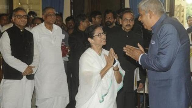 West Bengal governor Jagdeep Dhankhar on Thursday launched a scathing attack against some of the trusted lieutenants of CM Mamata Banerjee, including Chandrima Bhattacharya and Kolkata mayor Firhad Hakim.(HT PHOTO.)