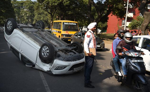 Speeding was one of the main reasons behind road mishaps in city.(HT PHOTO)