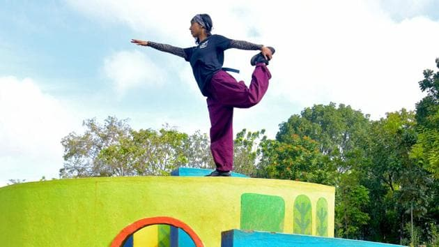 File image of breakdancer Johanna Rodrigues in Bangalore.(AFP)