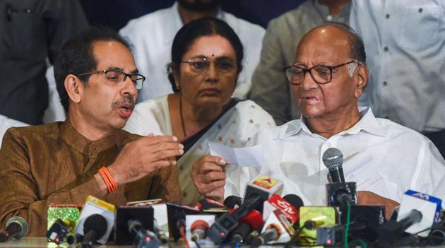 Party chief Sharad Pawar alleged that his nephew Ajit may have tricked other legislators.(Anshuman Poyrekar/HT Photo)