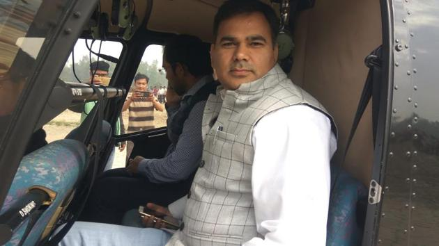 The two officers who allegedly took a free joyride in a helicopter in Unnao on Monday.(Sourced)
