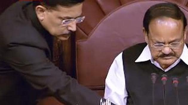 Marshals will now wear the ethnic bandhgala suits but without the turban.(Screengrab from RajyaSabha YouTube channel)