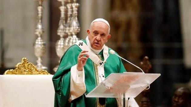 Pope Francis appealed to world leaders to ensure that nuclear weapons are never used again.(REUTERS)