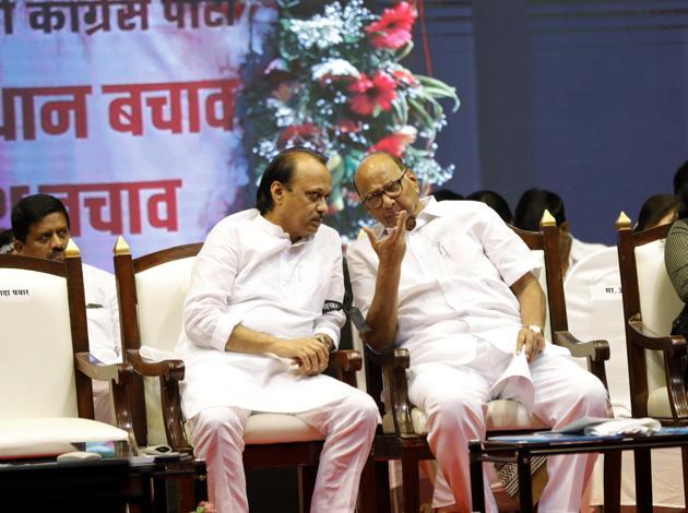 NCP leaders Ajit Pawar and Sharad Pawar.(HT FILE)