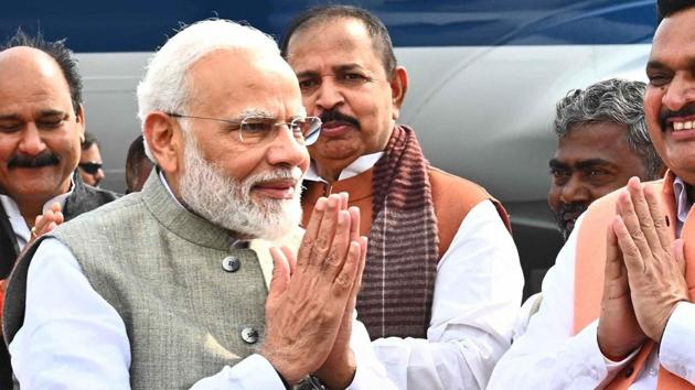 Prime Minister Narendra Modi spoke about the many schemes started by his government, said the Congress had deliberately kept the Ayodhya dispute over Lord Ram's birthplace hanging fire for decades.(PTI)