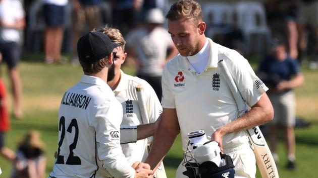 England's Stuart Broad shakes hands with New Zealand's Kane Williamson(REUTERS)