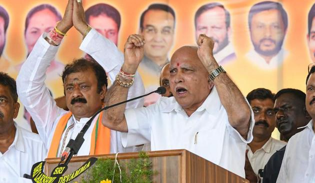 Karnataka Chief Minister BS Yediyurappa addressing an election rally in Mandya district on Monday.(PTI)