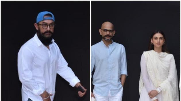 Aamir Khan and his Thugs of Hindostan director Vijay Krishna Acharya at Shaukat Kaifi's prayer meet.(Varinder Chawla)