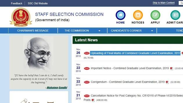 Staff selection commission on Tuesday released the final marks of candidates who had qualified in Tier-III for appearing in the Skill Test/Document Verification of Combined Graduate Level Examination 2017.(ssc.nic.in)