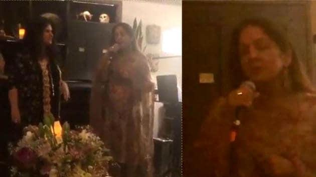 Neena Gupta sings at a dinner party.