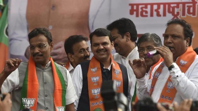 Mumbai, India - Nov. 23, 2019: CM Devendra Fadnavis along with party leaders at BJP office at Nariman point in Mumbai, India, on Saturday, November 23, 2019. (Photo by Kunal Patil/Hindustan Times)(Kunal Patil/HT Photo)