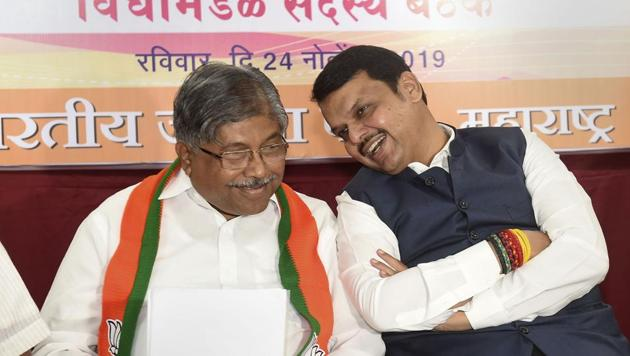 BJP Maharashtra President Chandrakant Patil and Maharashtra Chief Minister Devendra Fadnavis. The Supreme Court on Tuesday directed that the floor test for Chief Minister Devendra Fadnavis to prove his majority in the Maharashtra Assembly be conducted on Wednesday.(PTI)