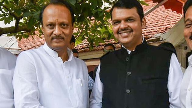 Devendra Fadnavis with Ajit Pawar(PTI file photo)