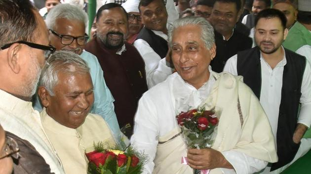 RJD leader Jagdanand Singh (on right, in shawl) after filling nomination for Bihar unit president at party office in Patna, Monday Nov25,2019.(Santosh Kumar / HT Photo)