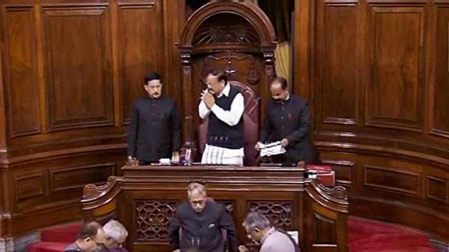 Rajya Sabha was adjourned for the day on Monday after the Opposition demanded suspension of business to take up the issue of government formation in Maharashtra.(PTI)