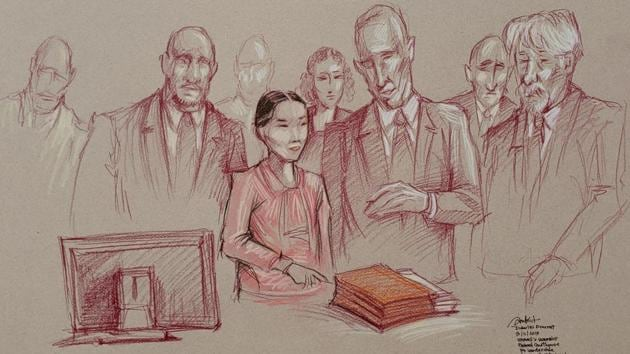 Yujing Zhang, 33, flanked by two U.S. marshals, stands to leave after she was found guilty of lying to a federal officer and trespassing at U.S.President Donald Trump's Mar-a-Lago resort, in a sketch made at U.S. District Court in Fort Lauderdale, Florida.(via REUTERS)