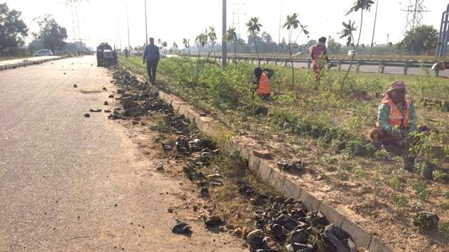 Beautification work underway on the Airport Road in Mohali on Tuesday.(HT Photo)