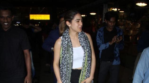 Sara Ali Khan at the Mumbai airport.