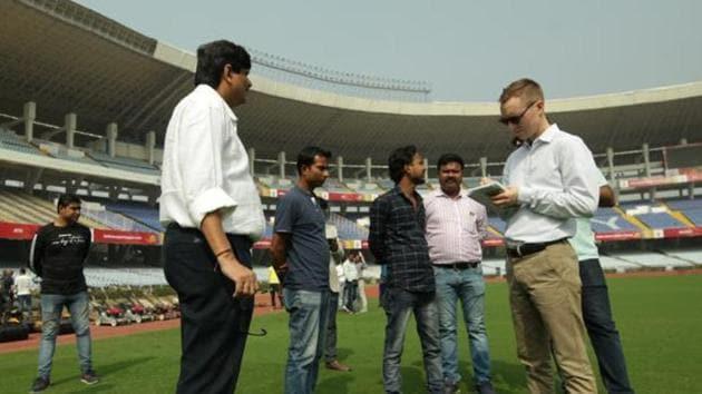 FIFA delegation at Vivekananda Yuba Bharati Krirangan Stadium (VYBK) in Kolkata(FIFA)