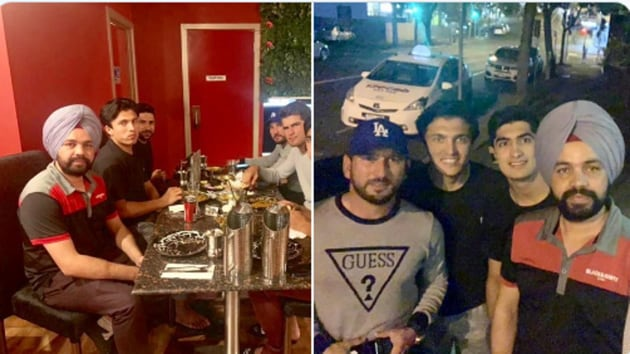 Pakistan cricketers with Indian cabbie(Twitter)