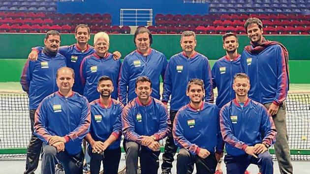 The Indian Davis Cup team at the indoor courts of the National Tennis Centre in Nur-Sultan(HT Photo)