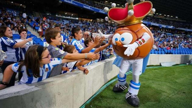 Real Sociedad newest mascot, Txurdin.(La Liga)