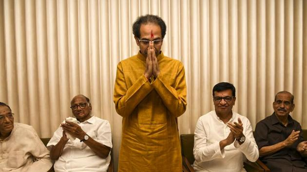 Shiv Sena chief Uddhav Thackeray after he was elected as Maharashtra Chief Minister by Shiv Sena , NCP and Congress alliance at Trident hotel, BKC in Mumbai, India, on Tuesday, November 26, 2019.(HT Photo)