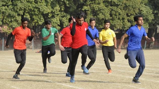 Students in action during Annual Sports day celebration of Ashiana Public school in Chandigarh.(Karun Sharma/Hindustan Times)