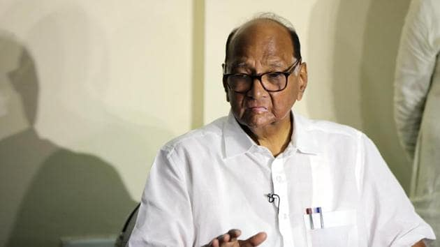Sharad Pawar during a press conference.(HT PHOTO)